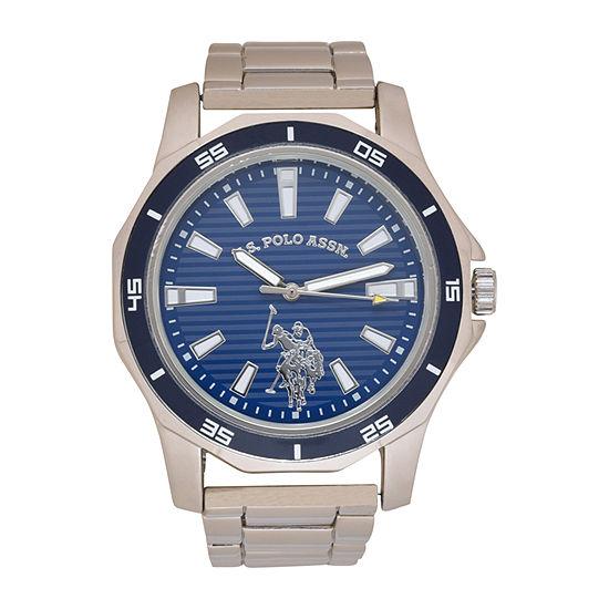 U.S. Polo Assn. Mens Silver Tone Bracelet Watch-Usc80525jc