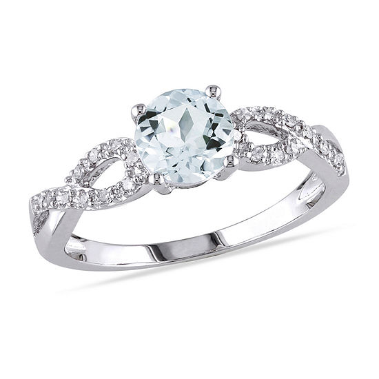 Womens 1/10 CT. T.W. Genuine Blue Aquamarine 10K White Gold Infinity Engagement Ring