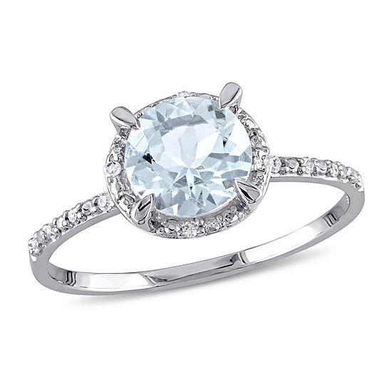Womens Diamond Accent Genuine Blue Aquamarine 10K White Gold Halo Engagement Ring