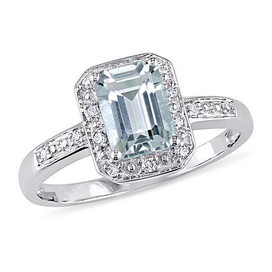 Womens Diamond Accent Genuine Blue Aquamarine 10K White Gold Engagement Ring