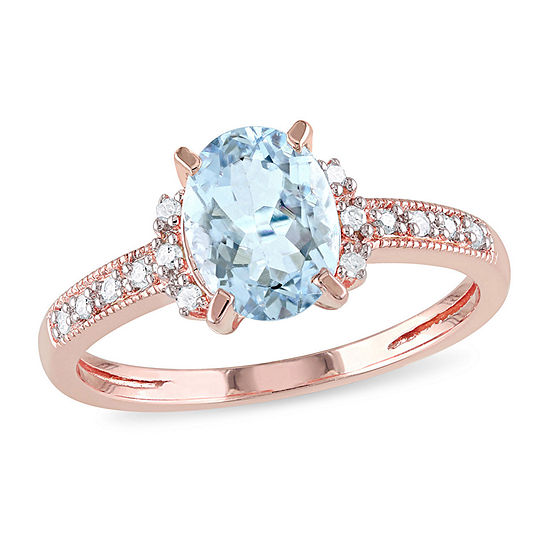 Womens Diamond Accent Genuine Blue Aquamarine 18K Gold Over Silver Engagement Ring