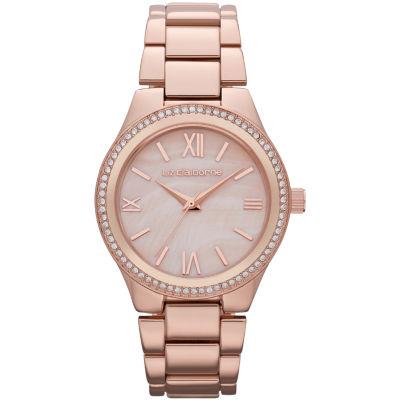 Liz Claiborne® Womens Rose-Tone Crystal-Accent Boyfriend Watch