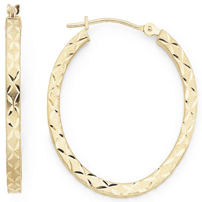 Diamond-Cut Oval Hoop Earrings 10K Gold