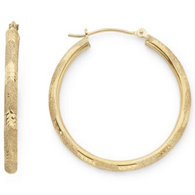 Diamond-Cut Candy Stripe Hoop Earrings 10K Gold