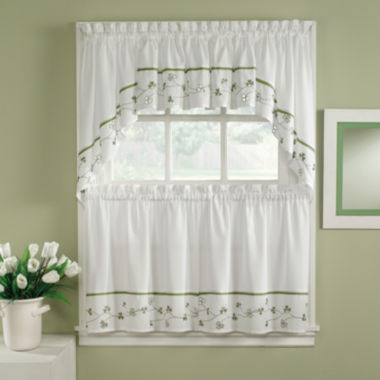 jcpenney.com | Clover Embroidered Rod-Pocket Kitchen Curtains