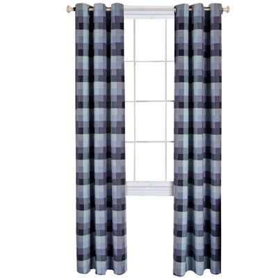 Harvard Check Light-Filtering Grommet-Top Single Curtain Panel