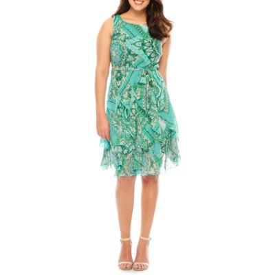 Robbie Bee Sleeveless Fit & Flare Dress