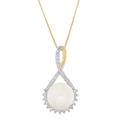 Sofia Womens 1/10 CT. T.W. White Pearl 10K Gold Pendant Necklace