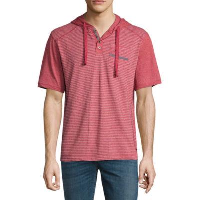 Distortion Short Sleeve Knit Stripe Hoodie