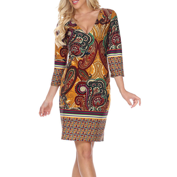 White Mark Vivian 3/4 Sleeve Paisley Sheath Dress