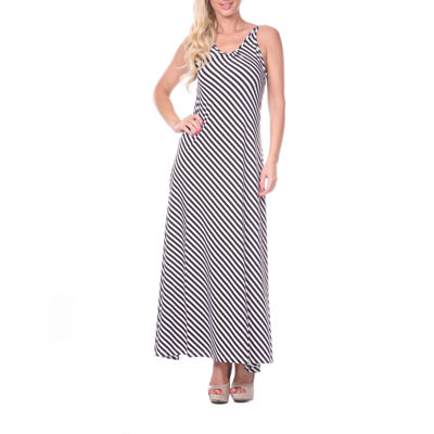 White Mark Backless Sleeveless Striped Maxi Dress