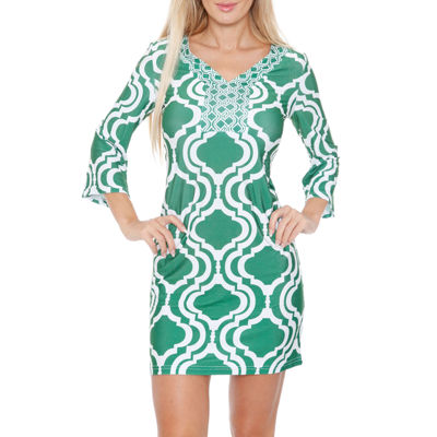 White Mark Augusta 3/4 Sleeve Pattern Sheath Dress