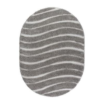 Tayse Waveland Contemporary Stripe Shag Oval Area Rug