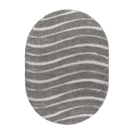 Tayse Waveland Contemporary Stripe Shag Oval Area Rug