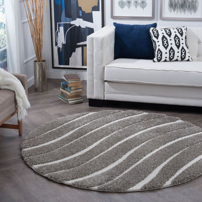 Tayse Waveland Contemporary Stripe Shag Round Area Rug
