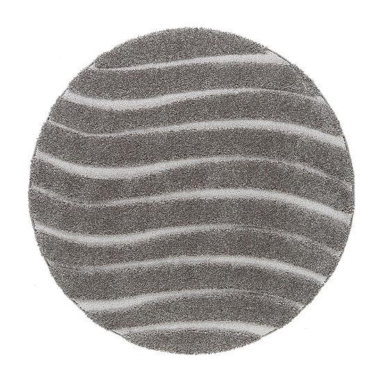 Tayse Waveland Contemporary Stripe Shag Round Area Rug