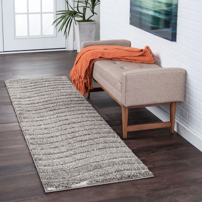 Tayse Waveland Contemporary Stripe Shag Runner Rug