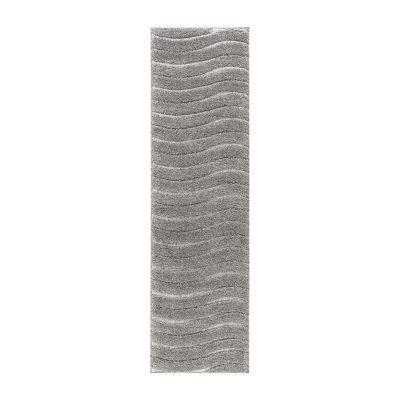Tayse Waveland Contemporary Stripe Shag Runner Rug