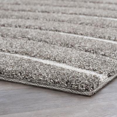 Tayse Waveland Contemporary Stripe Shag Rug