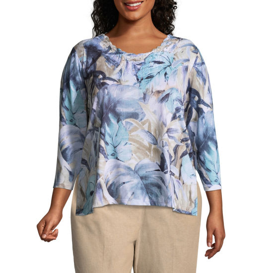 Alfred Dunner Blues Traveler Tropical Tee- Plus