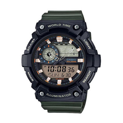 Casio Mens Green Strap Watch-Aeq200w-3av