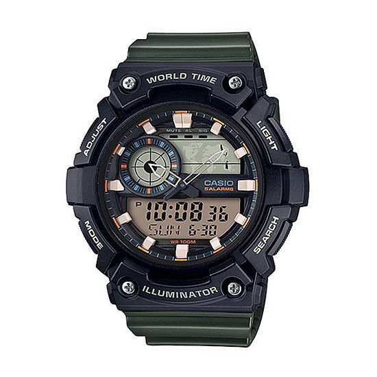 Casio Mens Digital Green Strap Watch-Aeq200w-3av