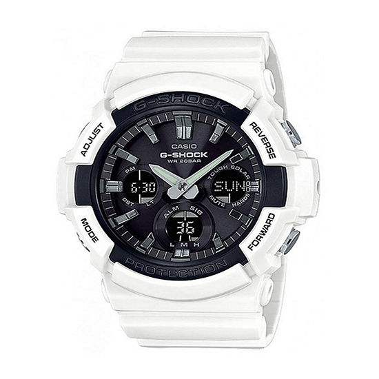 Casio G-Shock Mens Digital White Strap Watch-Gas100b-7a