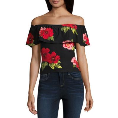 Derek Heart Short Sleeve Knit Floral Blouse-Juniors