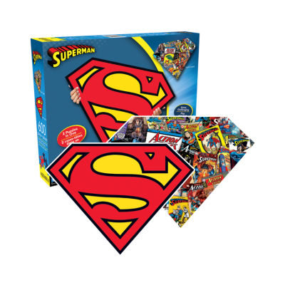 Aquarius DC Comics - Superman Logo and Collage Double-Sided Shaped Jigsaw Puzzle: 600 Pcs