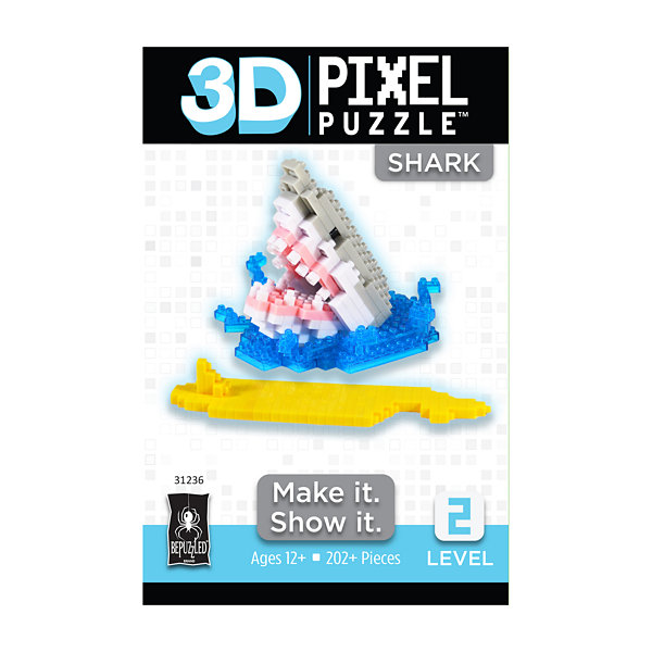 BePuzzled 3D Pixel Puzzle - Shark: 202 Pcs