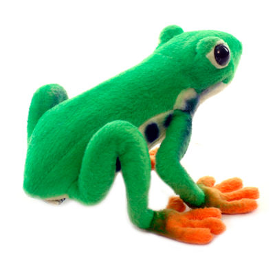 "Hansa Green Tree Frog 7"" Plush Toy"""