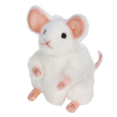 """Hansa 6"""" White German Mouse Plush Toy"""