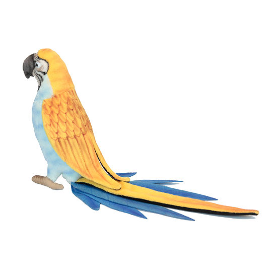 """Hansa 7"""" Blue and Yellow Parrot Plush Toy"""""""