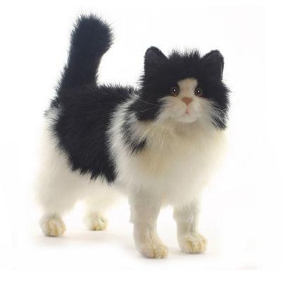 Hansa Black and White Cat Plush Toy