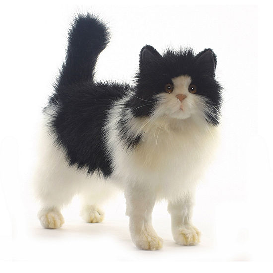 Hansa Black and White Cat Plush Toy