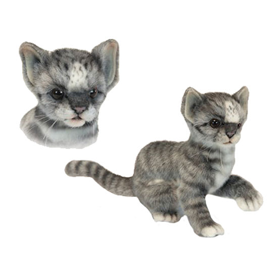 Hansa Grey and White Kitten Plush Toy
