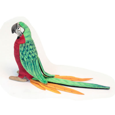 Hansa Red and Green Parrot Plush Toy
