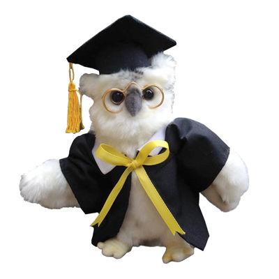 """Hansa White Graduation Owl 7"""" Plush Toy"""""""