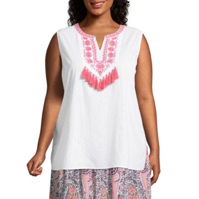 Liz Claiborne Sleeveless Embroidered Top- Plus