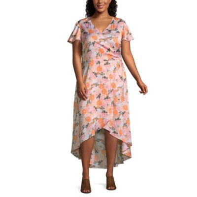 Belle + Sky Short Sleeve Floral Wrap Dress-Plus
