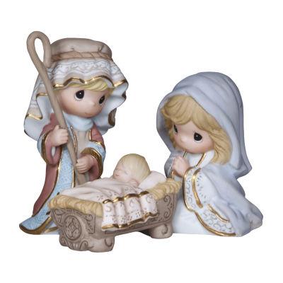 """Precious Moments  """"Come Let Us Adore Him""""   Bisque Porcelain Mini Figurines  3 Piece Set #131032"""