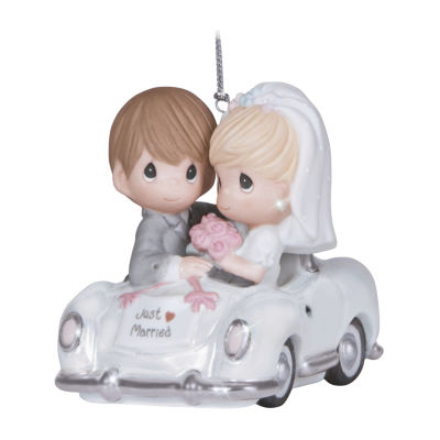 "Precious Moments  ""Just Married""  Bisque Porcelain Ornament  #131008"