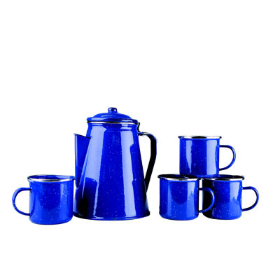 Stansport Enamel 8-Cup Percolator Coffee Pot and 4 12-Ounce Mugs
