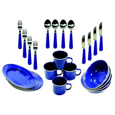 Stansport 24-Piece Enamel Camping Tableware Set
