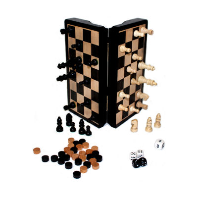 "John N. Hansen Co. Classic Game Collection - 8"" Magnetic Dark Wood 3 in 1 Game Set"""