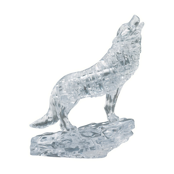 BePuzzled 3D Crystal Puzzle - Wolf (Black): 38 Pcs