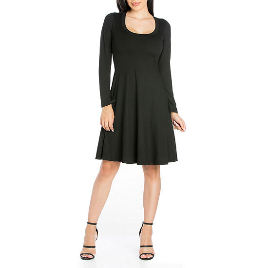 24/7 Comfort Apparel Long Sleeve A-Line Dress