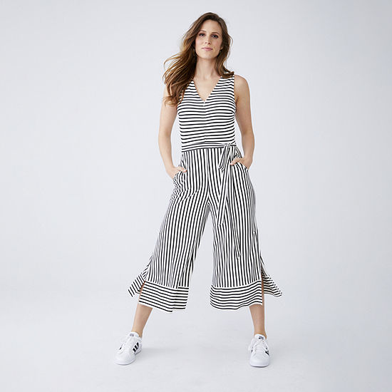 Worthington Striped Jumpsuit and Adidas Sneaker
