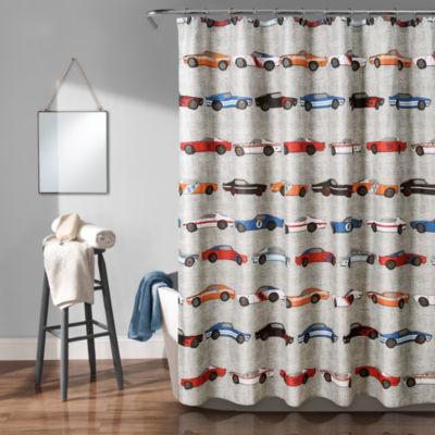 Lush Decor Race Cars Shower Curtain