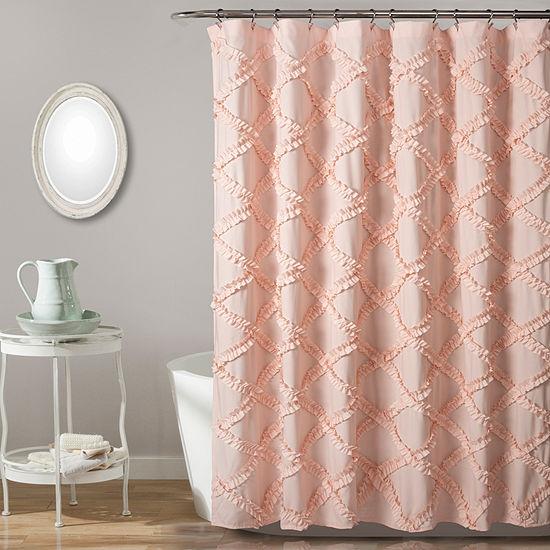 Lush Decor Ruffle Diamond Shower Curtain